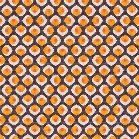 Abstract seamless pattern with elements in orange, yellow and white colors on brown background and texture in retro style