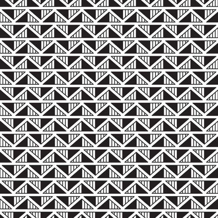 Geometric seamless pattern with black triangles with strips placed in direct and inverse position on white background