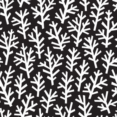 Abstract pattern with white trees on black layout.