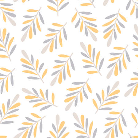 Seamless pattern with abstract big leaves in yellow and grey colors on white background Illustration