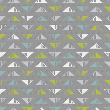 Abstract seamless background with triangles in white, light grey, turquoise and green colors on dark grey backdrop