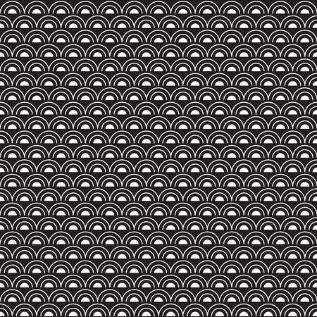 Abstract seamless pattern with white semicircles on black background