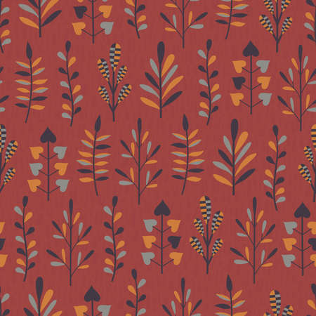 Seamless pattern with abstract plants in orange, grey and dark brown colors on red background with texture