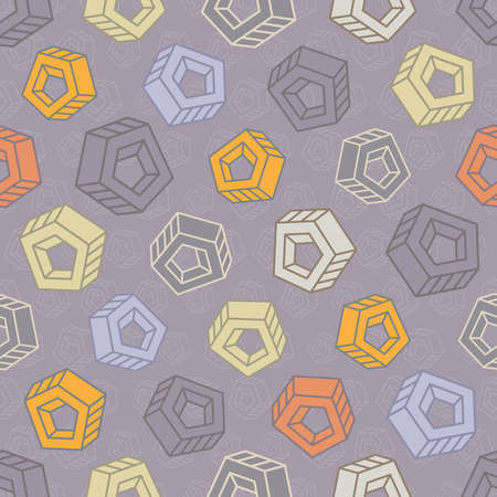Seamless pattern with abstract multicolored screw nuts placed in different angles on lilac background