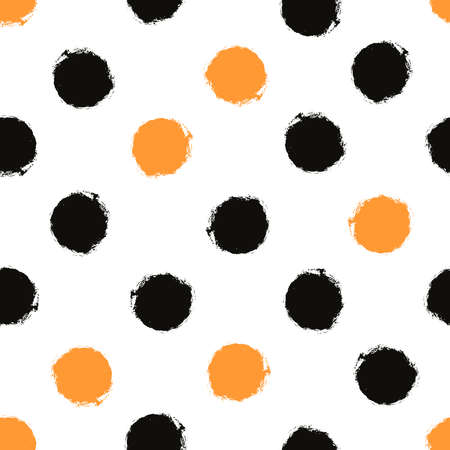 Abstract decorative seamless pattern with black and yellow circles on white background Illustration