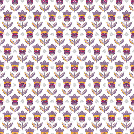Decorative seamless pattern with flowers in lilac, yellow, and grey colors on white background Ilustração