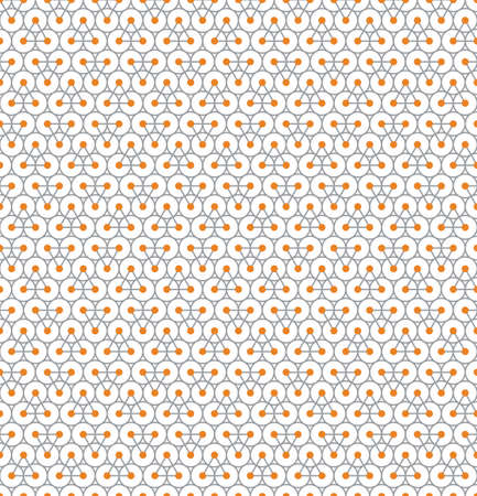 Abstract seamless pattern with gray triangles with orange circles on their vertices on gray circles on white background Illustration
