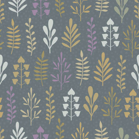 Seamless background with abstract different plants in white, lilac, beige and khaki colors on dark grey backdrop