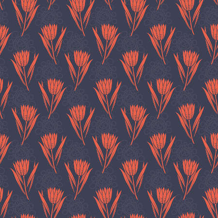 Abstract seamless pattern with bright red flowers on dark blue background