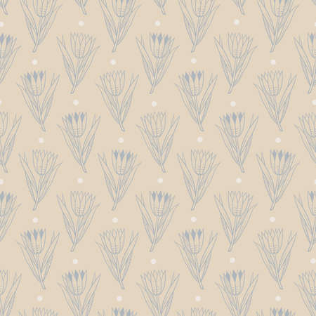 Seamless pattern with gray hand-drawn flowers with small white circles on beige background in retro style Illustration