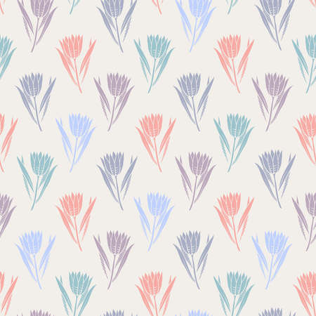 Romantic seamless pattern with flowers in red, blue, lilac, purple and turquoise colors on white background