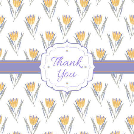 Background with yellow flowers, lilac ribbon, frame and text Thank you on white backdrop