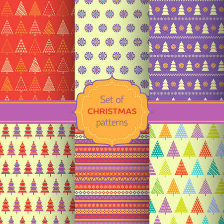 Set of colorful christmas pattern.