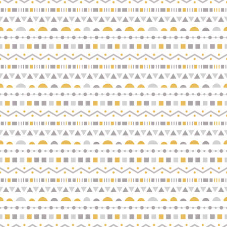 Abstract seamless pattern with horizontal stripes from different geometric shapes in yellow, gray and dark gray colors on white background Ilustrace