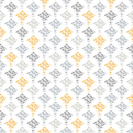 Abstract seamless pattern with shapes from small triangles in orange and different tints of gray on white background