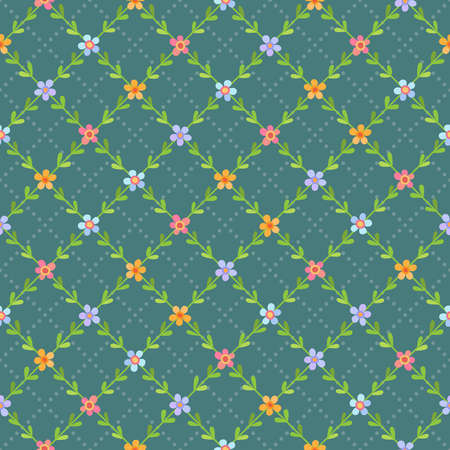 Seamless pattern with cute small multicolored flowers on turquoise background Ilustrace