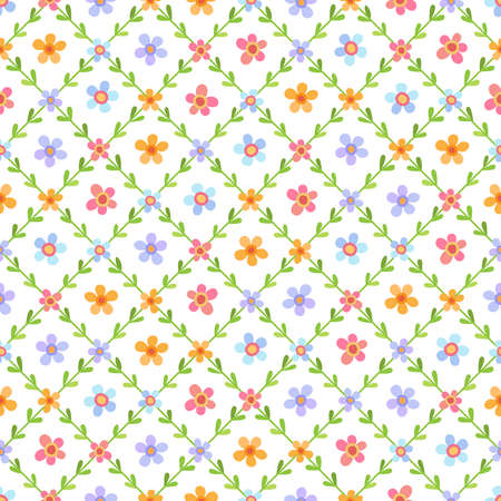 Lovely diagonal seamless pattern with flowers in blue, yellow, red and lilac colors in different sizes and leaves on white background