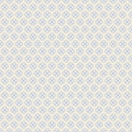 Seamless pattern with abstract decorative flowers in grey and white colors on light beige background