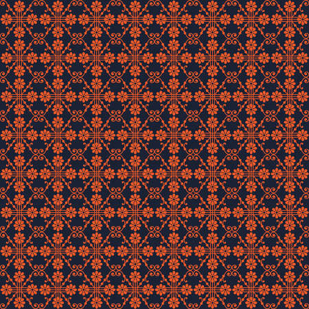 Symmetric seamless pattern with bright orange flowers, lines and curves on dark blue background Ilustrace