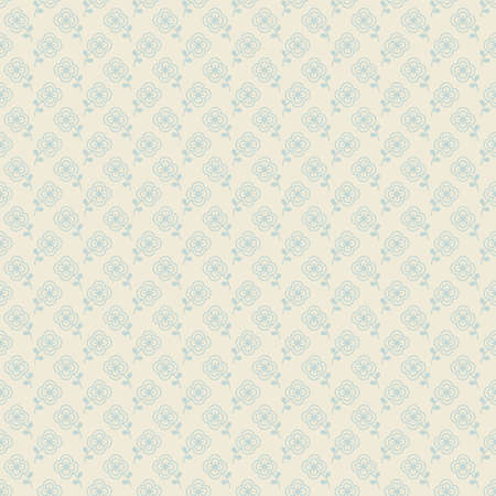 Seamless pattern with pretty flowers in pale turquoise color on light beige background