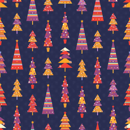 Bright seamless pattern with fun multicolored decorated fir trees in red, yellow and purple colors on dark blue background Ilustrace