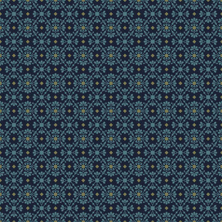 Seamless pattern with abstract blue flowers on dark blue background decorated with small olive rhombuses and squares