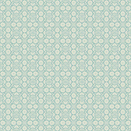 Beautiful seamless background with white flowers and lines on pale turquoise backdrop