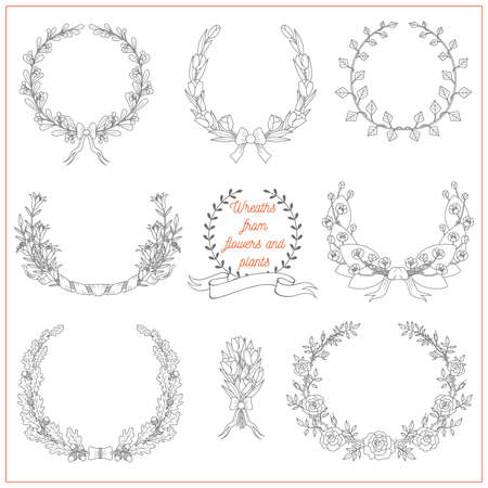 Set of decorative elegant wreaths from flowers and plants, such as rose, lily, tulip, spatter-dock, oak, ivy on white background. Can be used for invitations or greeting cards. Ilustrace