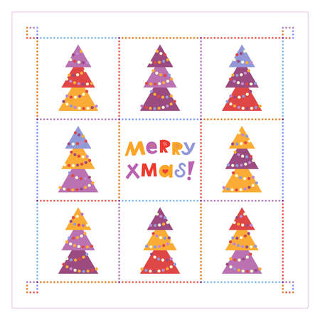 Abstract Christmas card design with decorative fir trees with lights in multicolored squares