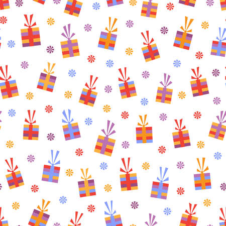 Seamless pattern with bright multicolored gifts