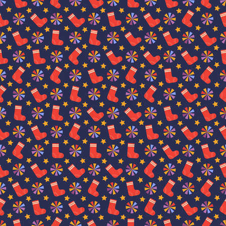 Colorful seamless pattern with red Christmas socks