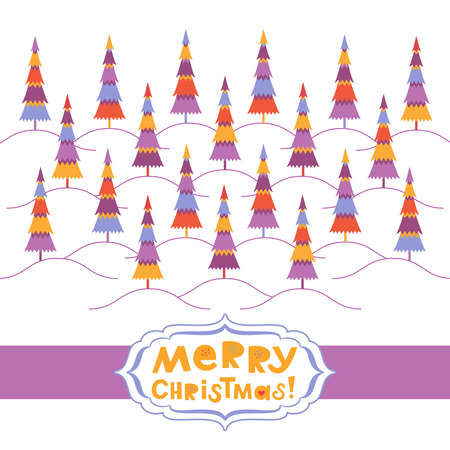 Christmas background with multicolored fir trees on hills. Greeting card Ilustrace
