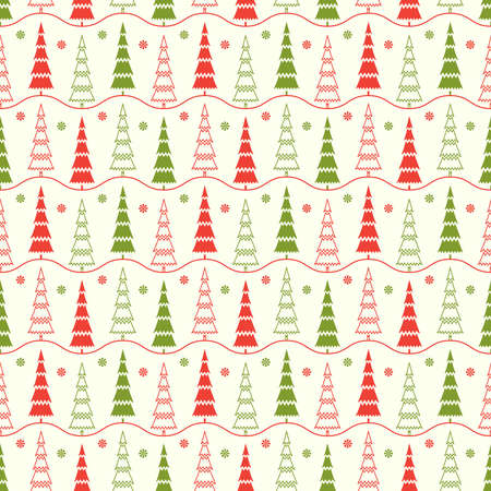 Seamless pattern with red and green fir trees, decorative snowflakes and wavy horizontal lines on white background Ilustrace