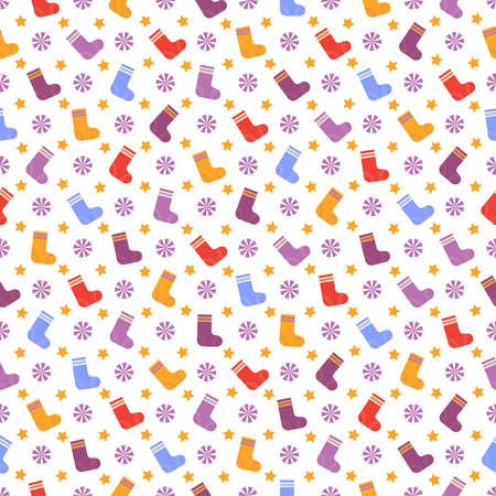 Seamless pattern with multicolored Christmas socks, lilac snowflakes, yellow stars on white background.