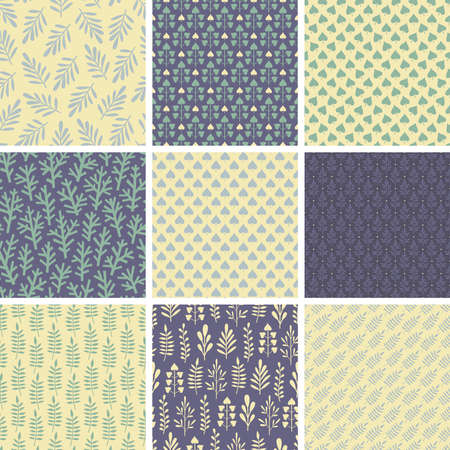 Set of seamless patterns from abstract leaves and plants in green, blue and creamy white colors Ilustrace