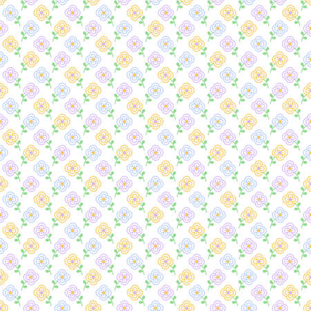 Seamless pattern with small flowers in blue, lilac and yellow colors on white background Ilustrace