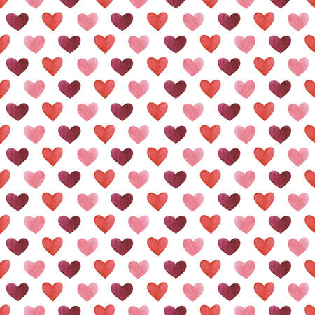 Seamless background with watercolor hearts in red, pink and burgundy colors on white backdrop Reklamní fotografie
