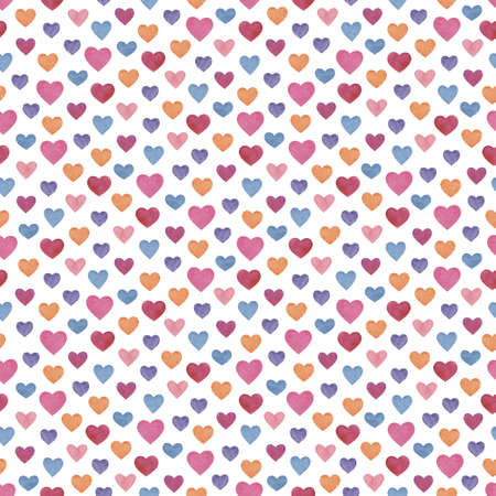 Seamless pattern with different sized pink, blue, red, yellow and purple hearts on white background Reklamní fotografie