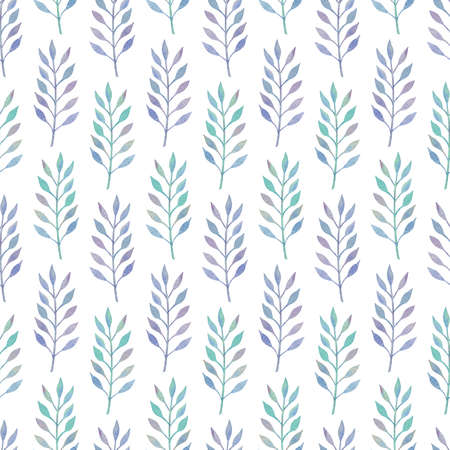 Abstract seamless background with blue-green watercolor leaves on white backdrop