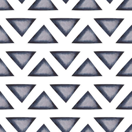 Abstract seamless pattern with grey watercolor triangles with dark edges and light centers on white backdrop