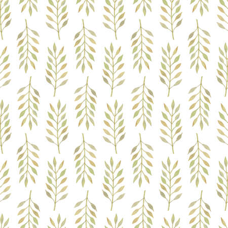 Seamless pattern with watercolor beige green leaves placed in direct and inverse position on white background