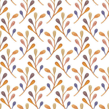 Abstract seamless background with watercolor plants in orange, beige, brown and blue colors on white backdrop