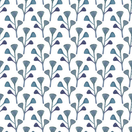 Seamless pattern with abstract watercolor plants in blue-green colors on white background Reklamní fotografie