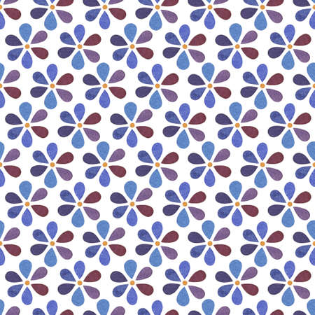 Seamless pattern with pretty flowers with petals in blue and lilac colors on white background Reklamní fotografie