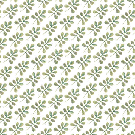 Diagonal seamless pattern with watercolor green leaves on white background