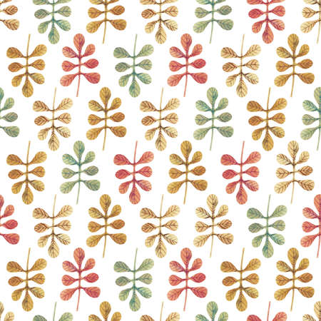 Seamless pattern with watercolor multicolored leaves placed in direct and inverse position on white background