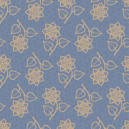 Seamless background with beige flowers placed in direct and inverse position on blue backdrop