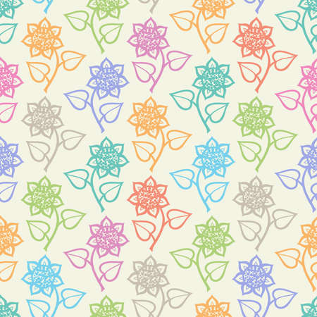 Seamless pattern with flowers in blue, orange, lilac, beige, green, turquoise and purple colors on white background Ilustrace