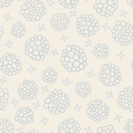 Seamless pattern with grey abstract shapes and crosses on light beige background