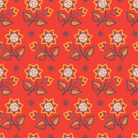 Bright seamless pattern with decorative flowers with orange petals, dark gray stems and buds on red background